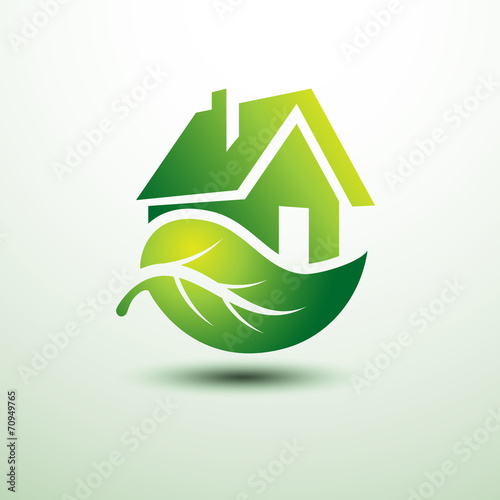 Eco green house concept signs and icons - 70949765