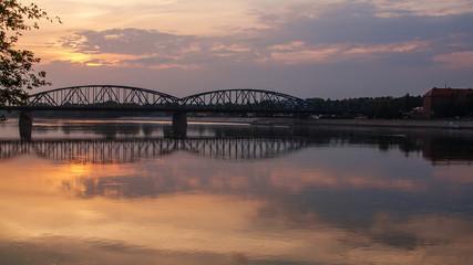 Marshall Pilsudski Bridge (1934) over Vistula  in Torun, Poland