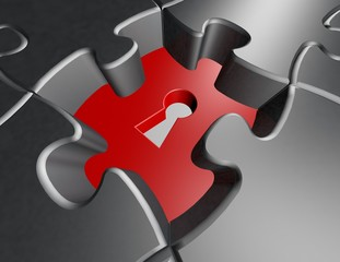 solving problems abstract concept with metallic jigsaw puzzles