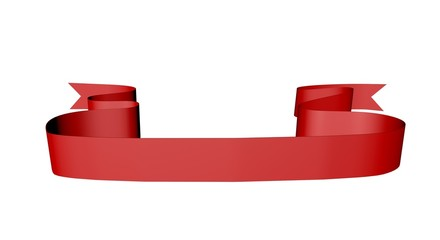 3d ribbon banner isolated on white with empty space