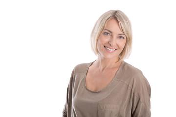 Portrait einer attraktiven glücklichen blonden Frau: Russin