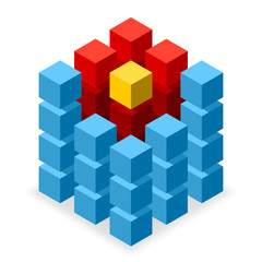 Blue cube logo with red segments