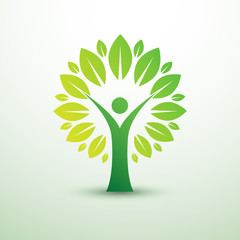 trees in the form of human green creative idea,vector illustrat