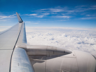 Airplane in flight, wing detail