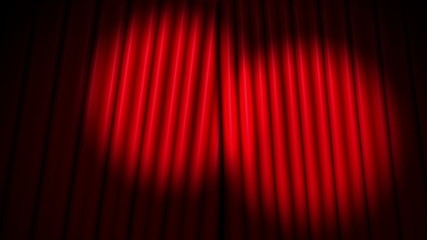 red theater velvet curtains opening with spotlights