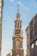 The Munttoren tower in Amsterdam, Netherlands.