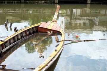old abandoned fishing wood boat