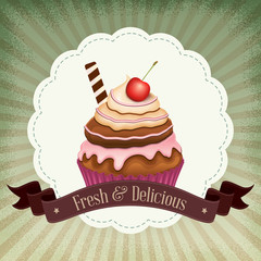 Vintage background with cupcake