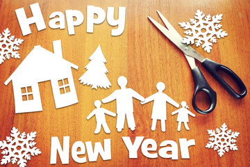 Concept of New Year and happy family