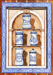 Botes de farmacia, azulejo