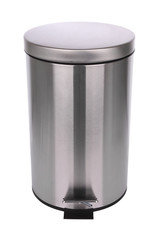 Top front of closed trash can on white background.