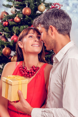 christmas couple with gifts and presents