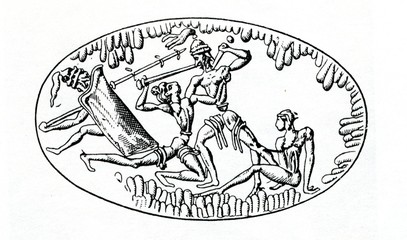 Battle (image on ring from Grave IV, Mycenae, Greece)