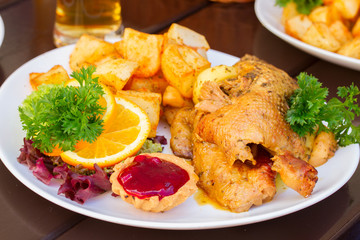 polish national dish - duck with apples and potato
