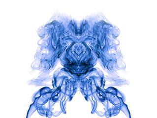 Blue artistic smoke on white background