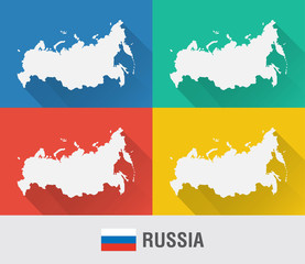 Russia world map in flat style with 4 colors.