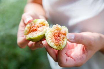 Divided fresh organic figs from the tree