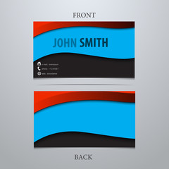 Modern business card with waves