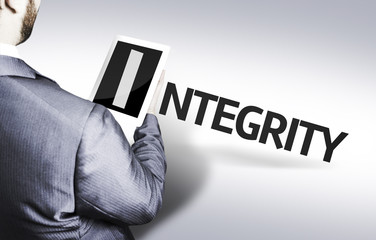 Business man with the text Integrity in a concept image