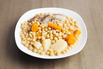 Chickpeas stew, typical spanish dish from Madrid