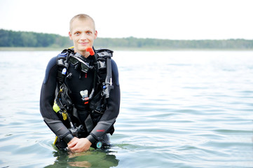 Scuba Diver on water