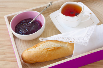 Breakfast - baguette, jam, tea