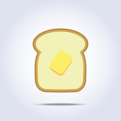 White bread toast icon with butter