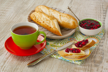 sandwiches with butter and lingonberry jam and tea horizontal
