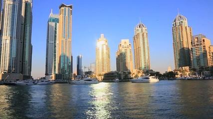 Shot of modern buildings at Dubai Marina, United Arab Emirates