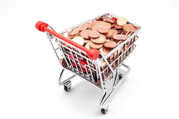 carro de la compra lleno de monedas