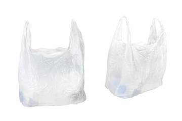 white plastic bag under the white background