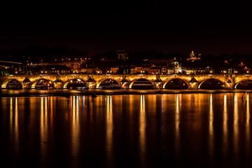 Charle's bridge in Prague at night