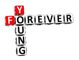 3D Crossword Forever Young on white background