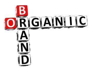 3D Crossword Organic Brand on white background
