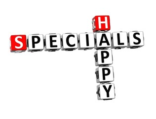 3D Crossword Specials Happy on white background