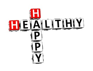 3D Crossword Healthy Happy on white background