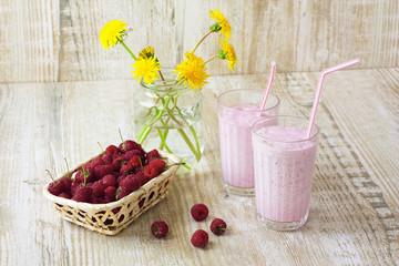 homemade milkshakes and fresh raspberries