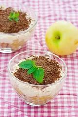 apple dessert of tiramisu with chocolate