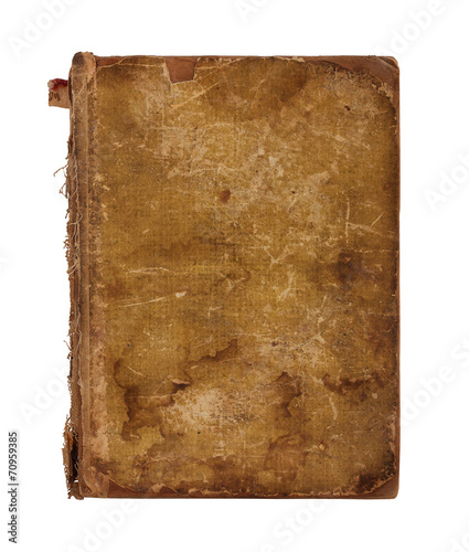 Foto op Plexiglas Retro Old worn book cover isolated on white background