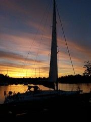 Sailboat and sunset at gulf of Finland