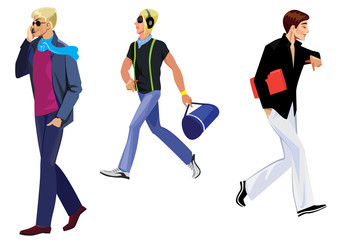 illustration of walking men