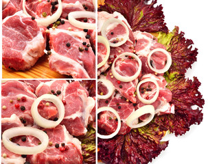 Raw meet pieces with sliced onion and black pepper