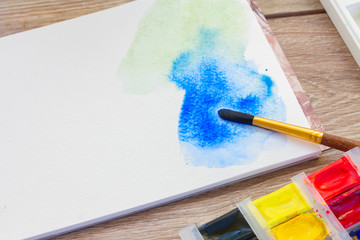 white canva with watercolor stroke
