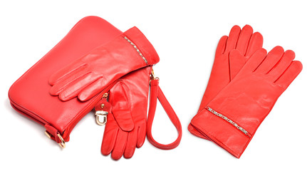 Red leather gloves and bag