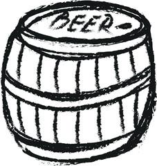 doodle wooden barrel