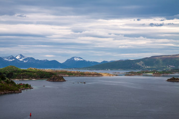 scenic view of fjord and snow mountains, Norway, Lofoten