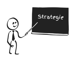 Strichmännchen vor Tafel Strategie