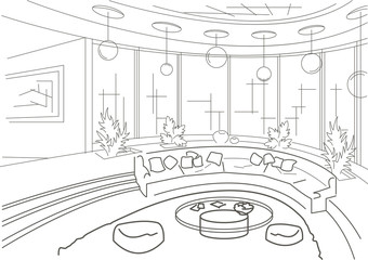 sketch interior of a round living room with podium