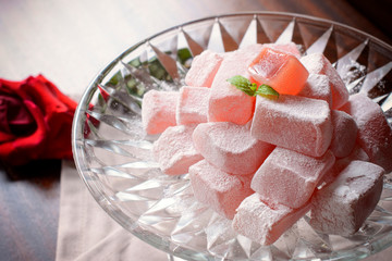 Traditional turkish delight with rose,selective focus