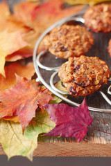 oatmeal cookies on the grill on a table covered with autumn lea